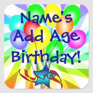Add Name & Age Birthday Balloons Colorful Stickers