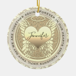 Add Name Angel Wings and Heart Memorial Ceramic Ornament