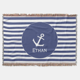 Add Name | Blue and White Striped Nautical Throw Blanket