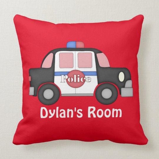 Add name boys room Police car throw pillow