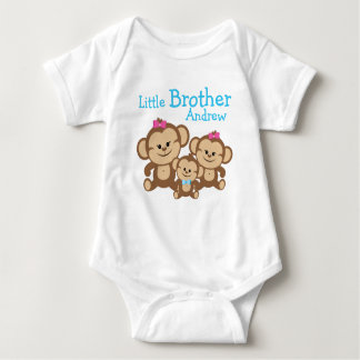 Add Name Customized Monkeys Little Brother Baby Bodysuit