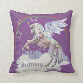Add name Fantasy Unicorn home decor pillow