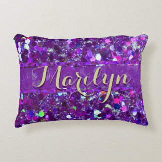 Add Name | Glitter Party | Purple Accent Pillow