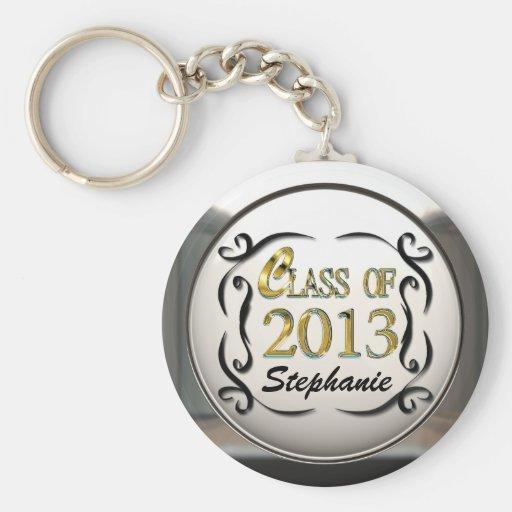 Add Name Gold & Black Decorative Grad Keychain