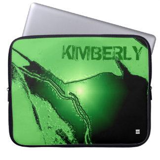 Add Name Green Latex Emboss Laptop Zip Sleeve