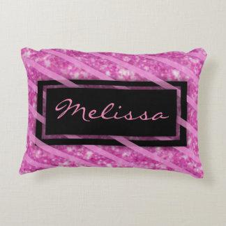 Add Name | Hot Pink Glitter Decorative Pillow