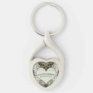 Add Name In Loving Memory Silver-Colored Twisted Heart Keychain