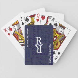 add name/initial to get personalized blue playing cards