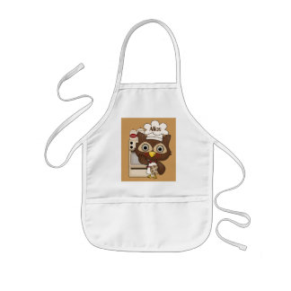Add Name Kitchen girls apron owl fun