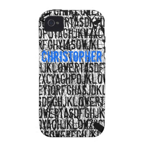 Add Name Letter Code Blue iPhone 4 Case-Mate Case