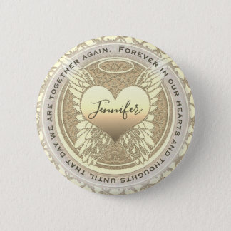 Add Name| Memorial | Gold Angel Heart 2 Inch Round Button
