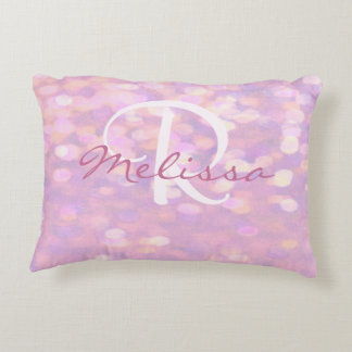 Add Name | Monogram | Pink Bokeh Lights Decorative Pillow