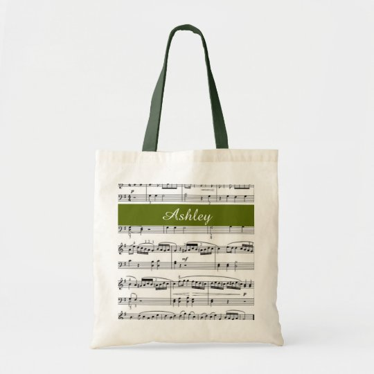 add name, music notes green tote bag