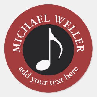 add-name musical note round sticker