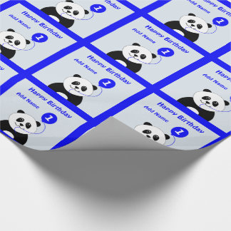 Add name panda 1st birthday blue wrapping paper