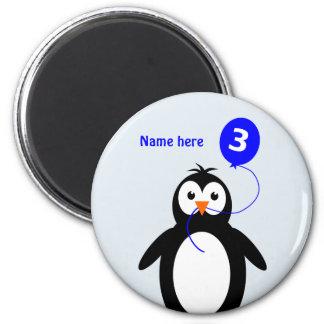 Add name penguin 3rd birthday blue magnet
