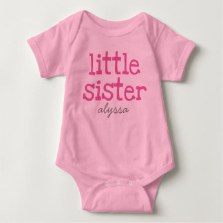 Add Name Personalized Pink Text Little Sister Baby Bodysuit