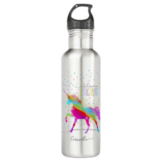 Add Name Personalized Rainbow Unicorn Gold Glitter 710 Ml Water Bottle