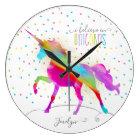 Add Name Personalized Rainbow Unicorn Gold Glitter Large Clock