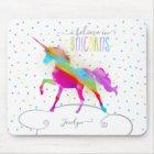 Add Name Personalized Rainbow Unicorn Gold Glitter Mouse Pad