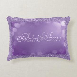 Add Name   Purple Bokeh Glitter Accent Pillow