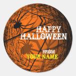 Add Name Spider Web Halloween Sticker Orange