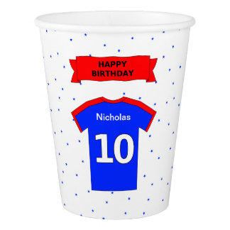 Add name sports party happy 10th birthday paper cup