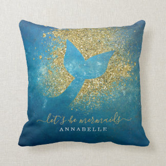 Add Name to Personalized Mermaid Tail Throw Pillow