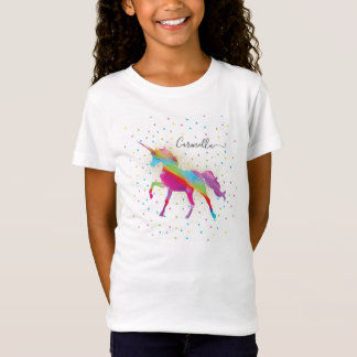 Add Name to Rainbow Gold Glitter Unicorn Birthday T-Shirt