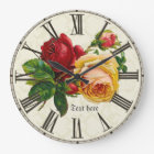 Add name to shabby chic vintage art roses flowers large clock