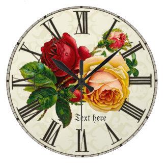 Add name to shabby chic vintage art roses flowers wallclocks