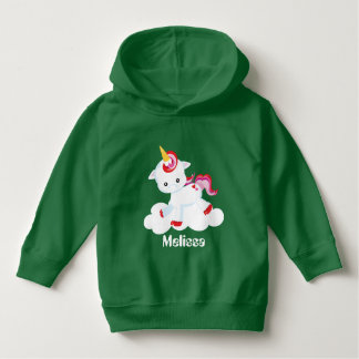 Add name toddler girls unicorn hoodie