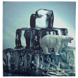 Add Own SLOGAN To Save Arctic Polar Bear Planet Napkin