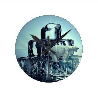 Add Own SLOGAN To Save Arctic Polar Bear Planet Round Clock