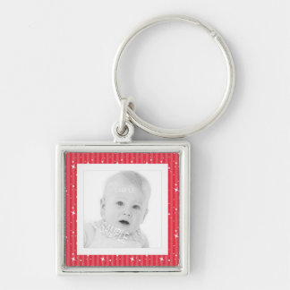 Add Photo Cute Red and Pink Stripes Silver-Colored Square Keychain