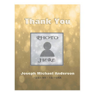 Add Picture| Thank You | Gold Postcard