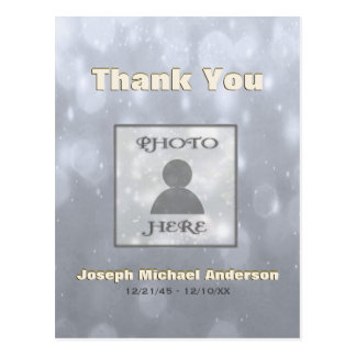 Add Picture  Thank You   Gold Silver Postcard