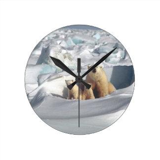 Add SLOGAN to Save Arctic Polar Bears Planet Ice Round Clock