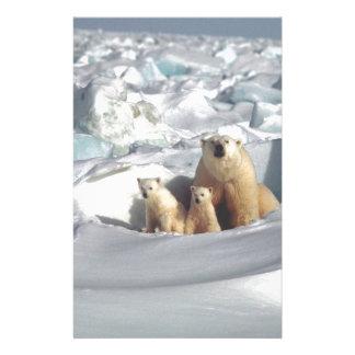 Add SLOGAN to Save Arctic Polar Bears Planet Ice Stationery