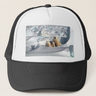 Add SLOGAN to Save Arctic Polar Bears Planet Ice Trucker Hat