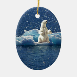 Add SLOGAN to Save Polar Bears Arctic Planet Ice Ceramic Ornament