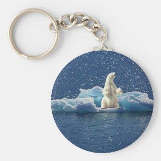 Add SLOGAN to Save Polar Bears Arctic Planet Ice Keychain