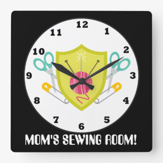 Add text Mom's sewing room wall clock