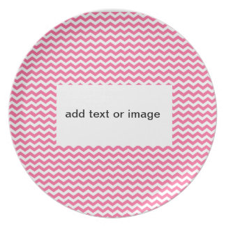 add text or image to this pink chevron dinner plate