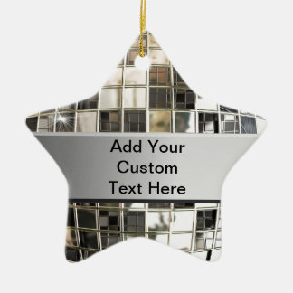 Add Text To Sparkling Silver Disco Star Ornament