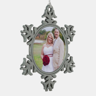 Add Wedding photo or others Christmas Oranment Snowflake Pewter Christmas Ornament