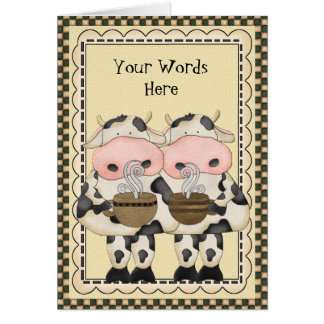 Add Words Coffee Cow greeting card
