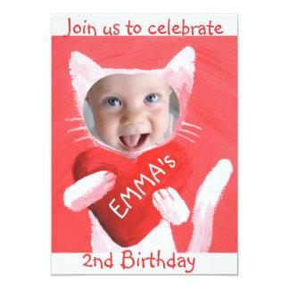 "add your baby girl's photo cute 2nd birthday 5"" x 7"" invitation card"