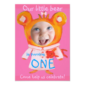 "add your baby girl's photo cute funny 1st birthday 5"" x 7"" invitation card"