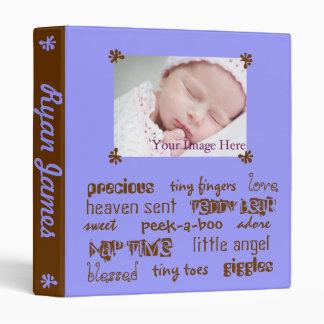 Add Your Baby's Info Blue Chocolate Boys Baby Book Vinyl Binder